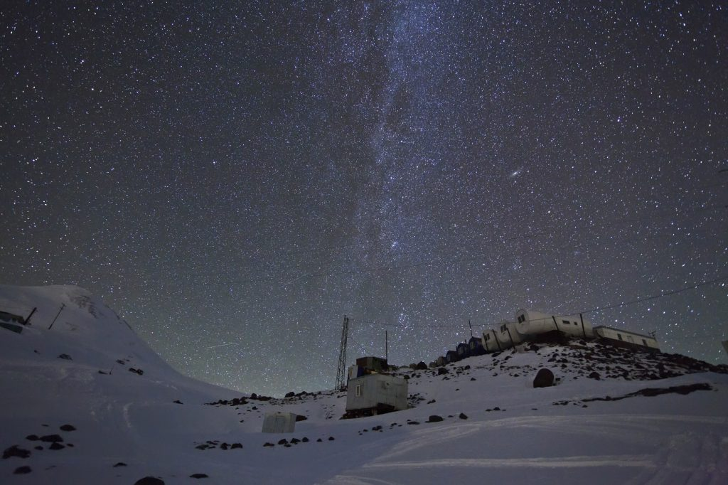 "Milky Way above the shelter ""Barrels"" Elbrus"